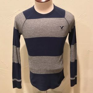 American Eagle Blue & Gray Striped Mens XS Thermal